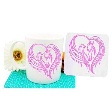 Ceramic coffee mug and coaster set majestic horse pink front view