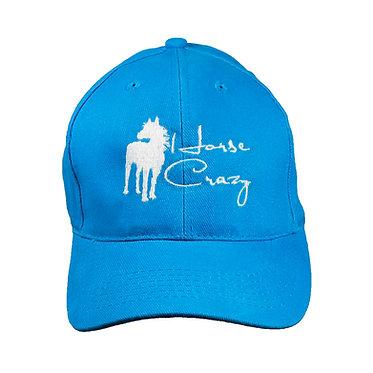 Horse crazy baseball cap aqua front view