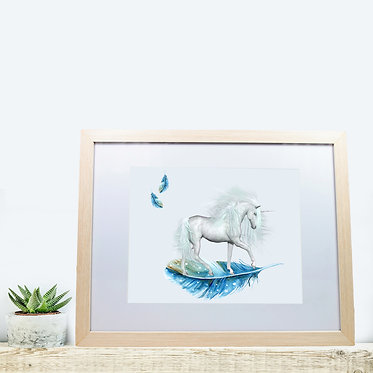 Rectangle wood picture frame unicorn on blue feather image front view