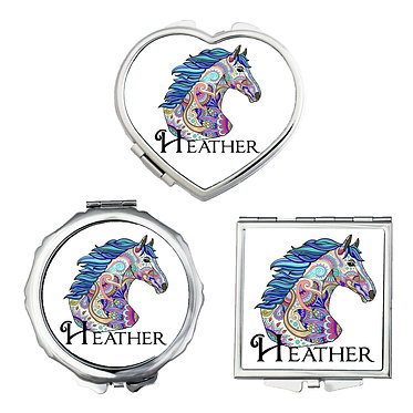 Set of three compact mirrors personalised painted horse image front view
