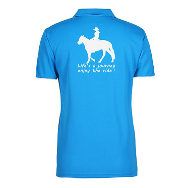 Ladies horse cool polo shirt aqua white life's a journey enjoy the ride image back view