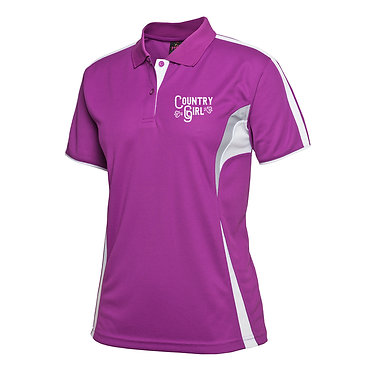 Ladies cool polo shirt mulberry white country girl image front view