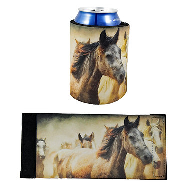 Neoprene stubby cooler with wild horses image front and flat view
