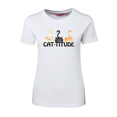 """Ladies slim fit t-shirt white 100% cotton with three cute cats """"cat-titude"""" image front view"""