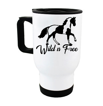 Stainless steel insulated travel mug paint horse wild n free image front view