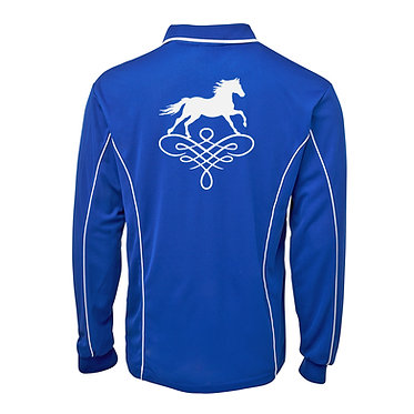 Adults long sleeve polo shirt royal blue white horse on scroll image back view