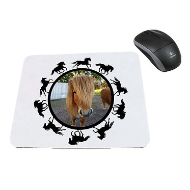 Computer mouse pad with horse pattern and personalized photo front view