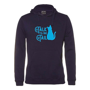Hoodie jumper navy with blue cat talk to the tail front view
