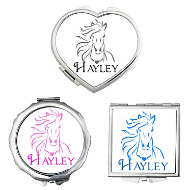 Set of three compact mirrors personalised horse with flowing mane image front view