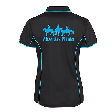 Ladies horse pipping polo shirt black aqua live to ride with three horse riders image front view