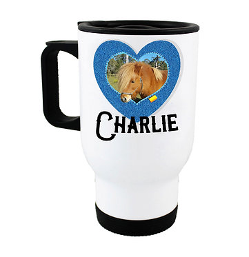 Travel mug personalized horse with photo and text in denim heart frame front view