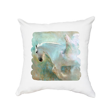 White cushion cover with zip white horse with wings image front view