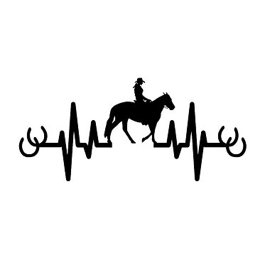 Horse heartbeat vinyl decal sticker in black front view