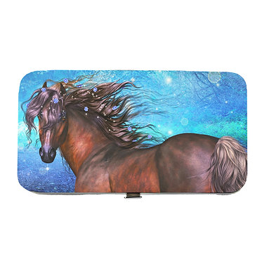 Ladies hard case purse wallet with mobile phone mount inside magical horse image view