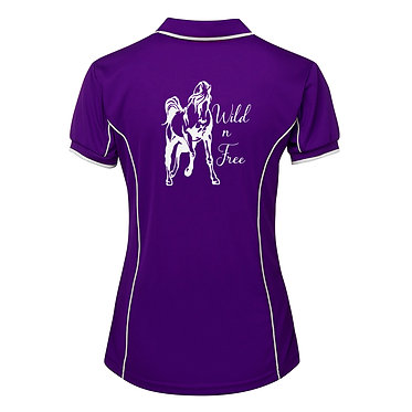 Ladies horse pipping polo shirt purple white wild n free horse image back view