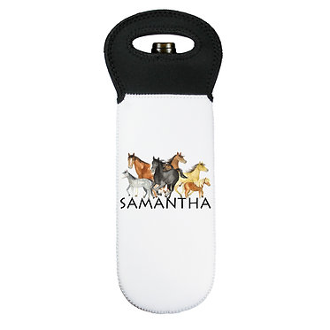 Personalised wine cooler carry bag neoprene with group of horses image front view