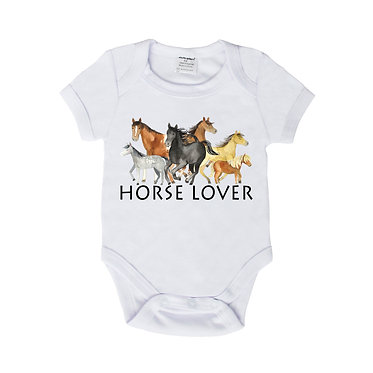 Baby romper play suit white with horse lover image front view