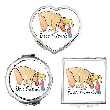 Compact mirrors in 3 shapes heart, round and square best friend girl and horse image front view