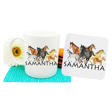 Personalised ceramic coffee mug and coaster set group of horses front view