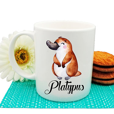 Ceramic coffee mug Australian cute Platypus image front view