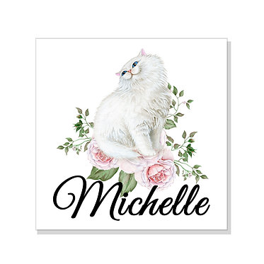 Square art print on card stock personalized with a white cat with flowers image front view