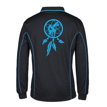 Adults long sleeve polo shirt black aqua dream catcher paint horse image back view