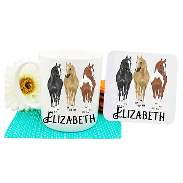 Personalised ceramic coffee mug and coaster set three horses front view