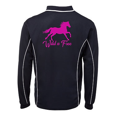Adults long sleeve polo shirt black hot pink horse wild n free image back view