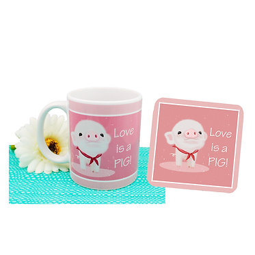 Coffee mug and drink coaster set with cute pig image and text i love pigs! front view