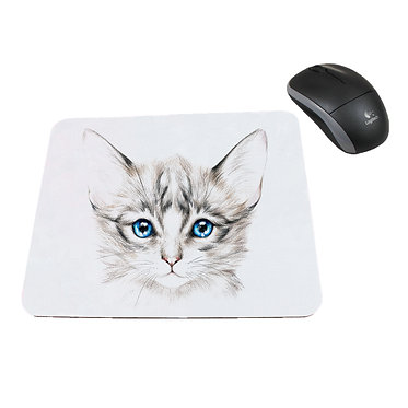 Neoprene computer mouse pad blue eyed kitten image front view