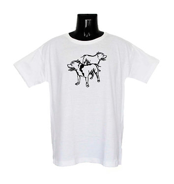 White Two Pitt Bulls Standing Dog T-Shirt Front View