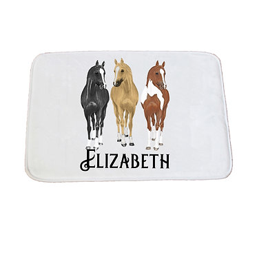 Personalised non-slip bath mat three horses image front view