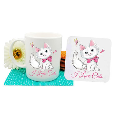 """Ceramic coffee mug and drink coaster set pink kitty and quote """"I love cats"""" image front view"""