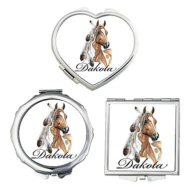 Set of three compact mirrors personalised paint horse with feathers image front view