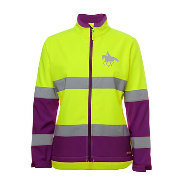 Ladies high visibility reflective softshell jacket lime and purple with please slow down horse and rider front view