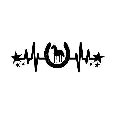 Horse vinyl decal sticker horse heartbeat with stars in black front view