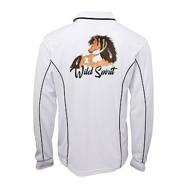 White with navy pipping adults long sleeve polo top wild spirit paint horse image back view