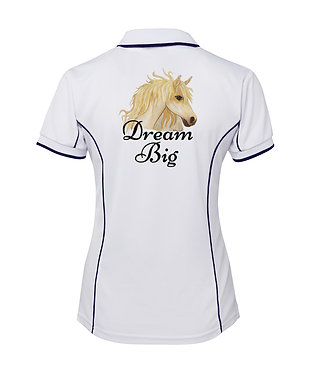 White with navy pipping ladies pipping polo top dream big horse image back view