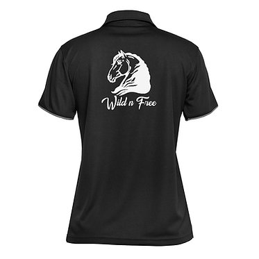 Ladies horse cool polo shirt black white heavy horse wild n free image back view