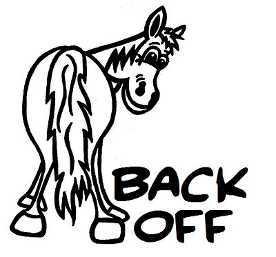 Horse back off decal sticker front view