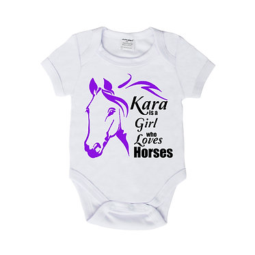 Personalised baby romper suit white with purple a girl who loves horses image front view