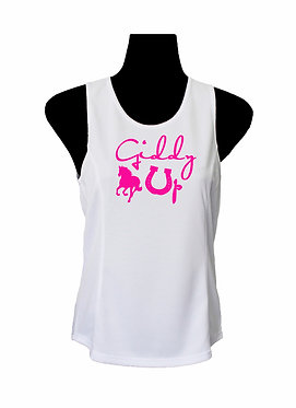 White with hot pink horse giddy up ladies singlet top front view