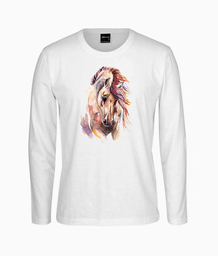 Adults long sleeve t-shirt white with a beautiful watercolour horse image front view