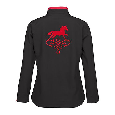 Ladies horse theme soft shell jacket black with red accents and red horse on scroll image back view