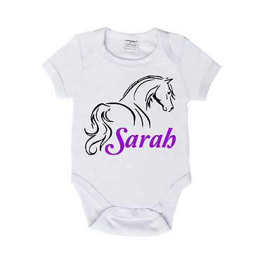 Personalised baby romper suit white with purple horse looking away image front view