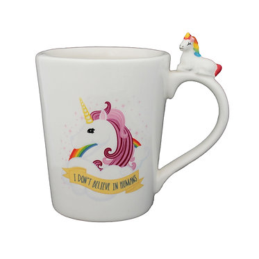 Unicorn coffee mug pink front view