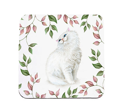 Neoprene drink coaster with white cat and leaf pattern image front view