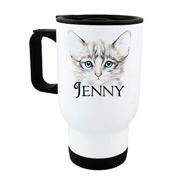 Travel mug with personalized kitten with blue eyes and name image front view