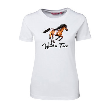 Ladies slim fit t-shirt white cotton with a cantering paint horse with the quote wild n free image front view