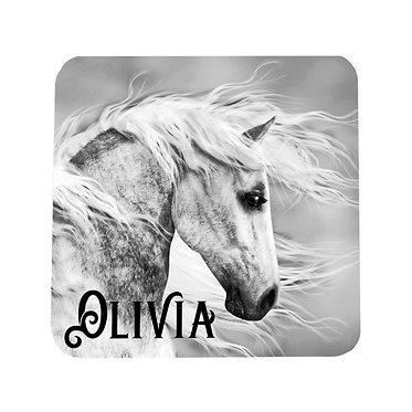 Personalised neoprene drink coaster black and white horse image front view